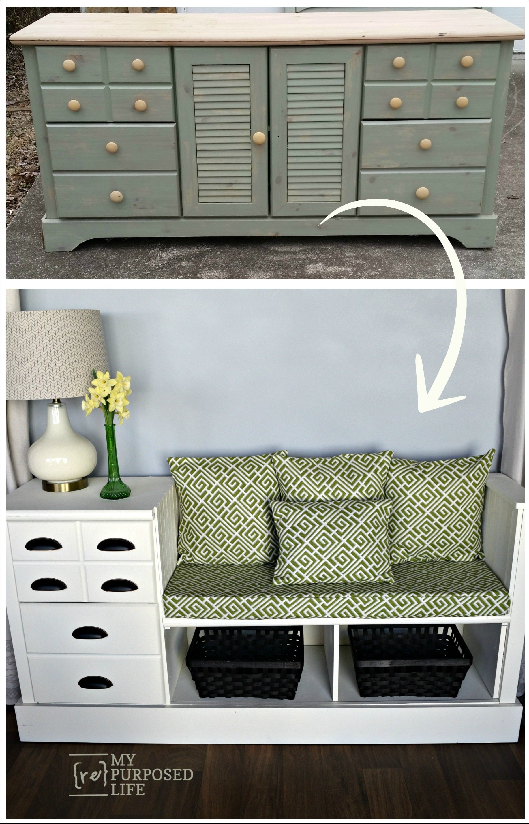 Storage Bench Made From A Dresser My Repurposed Life 174