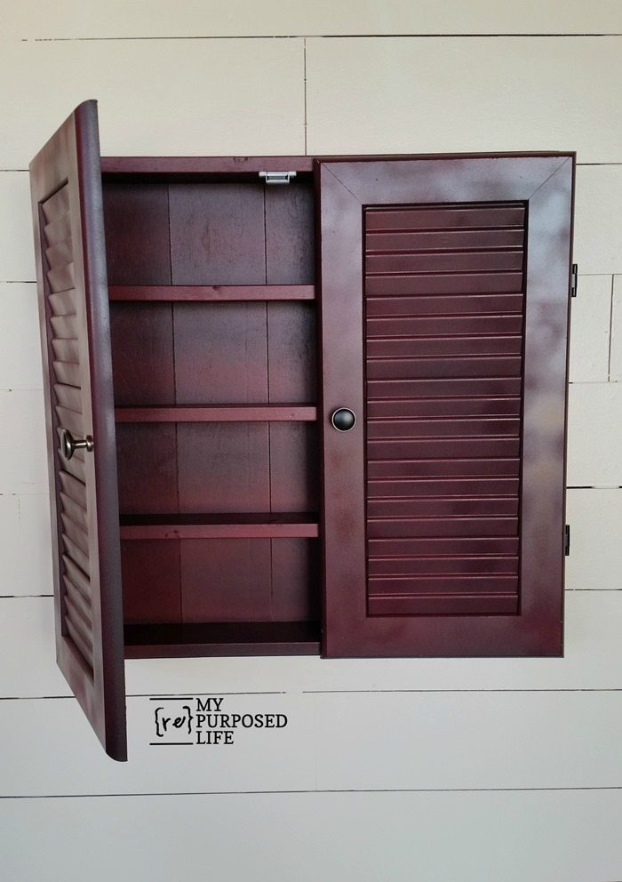 Perfect red glazed louvered door wall cabinet MyRepurposedLife
