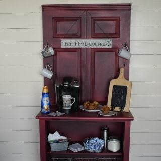 Coffee Station Cabinet | repurposed door and dresser