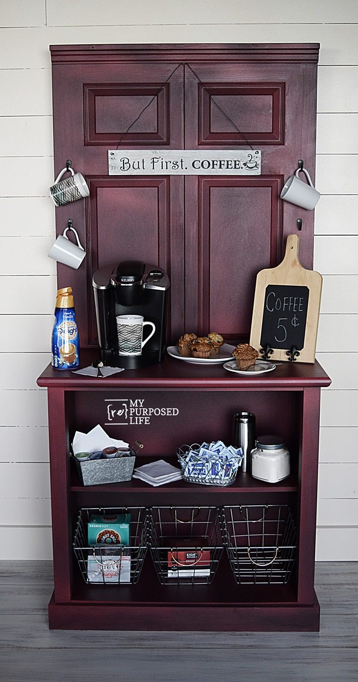 Coffee Station Cabinet Repurposed Door And Dresser My
