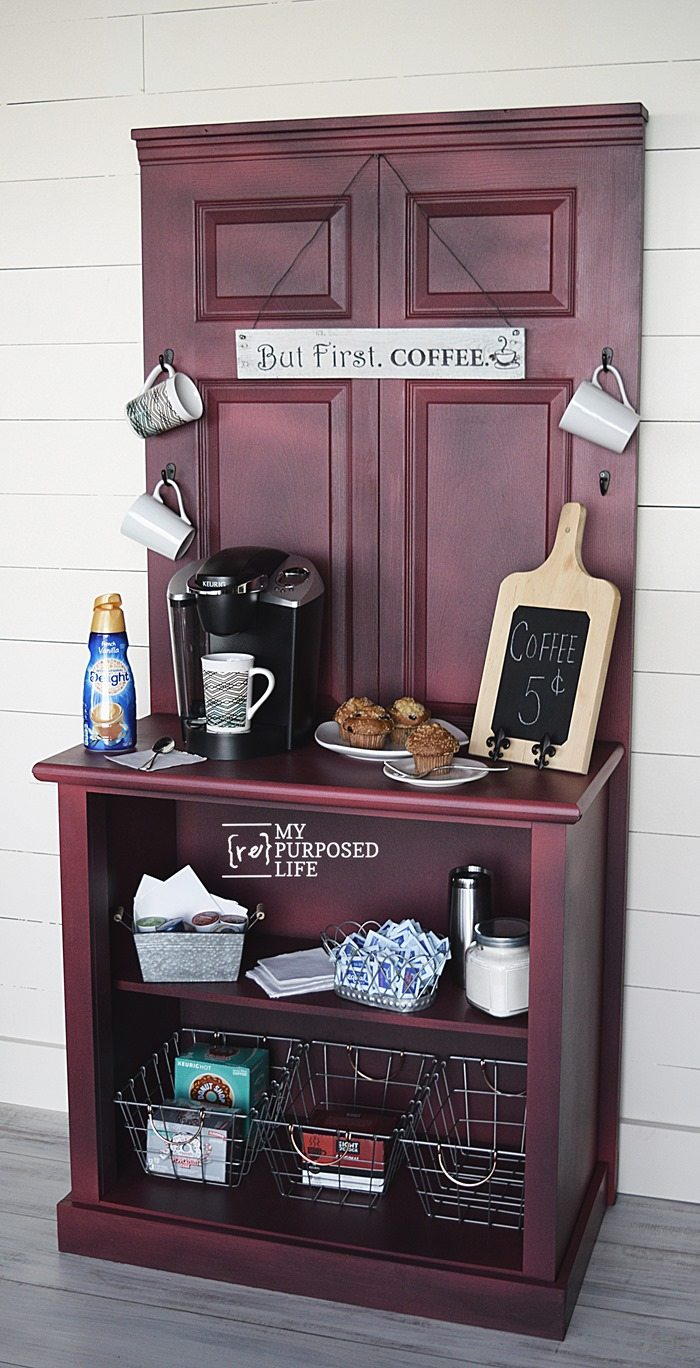 repurposed doors and dresser red glazed coffee organization station MyRepurposedLife.com