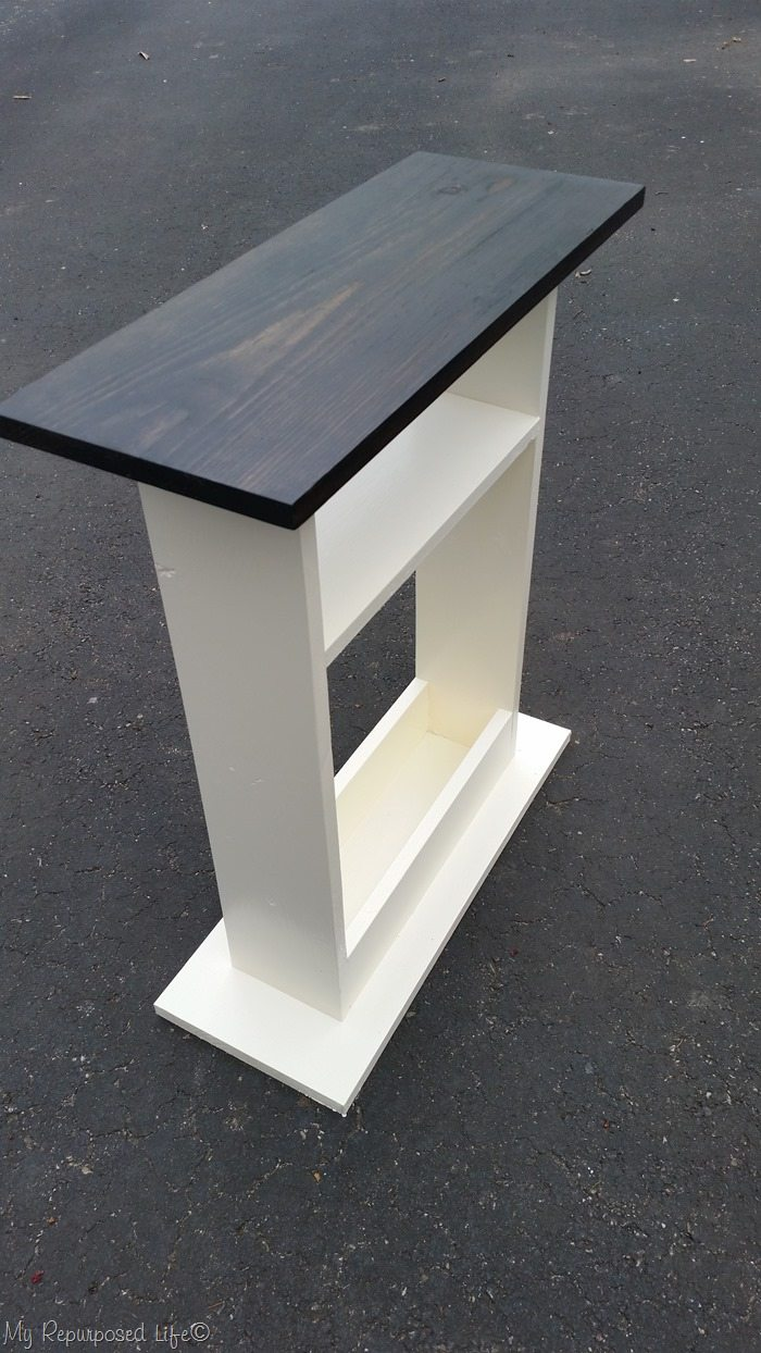 small sofa side table stained top white base