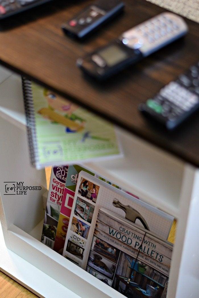 sofa side table with magazine storage MyRepurposedLife.com