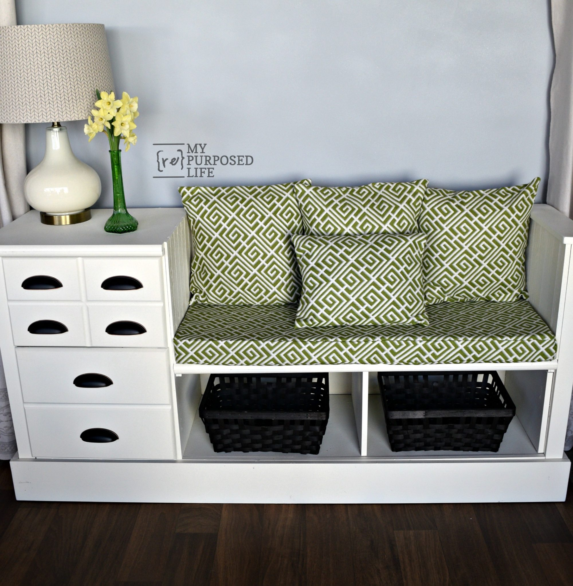 white repurposed dresser bench green-white cushion pillows MyRepurposedLife.com