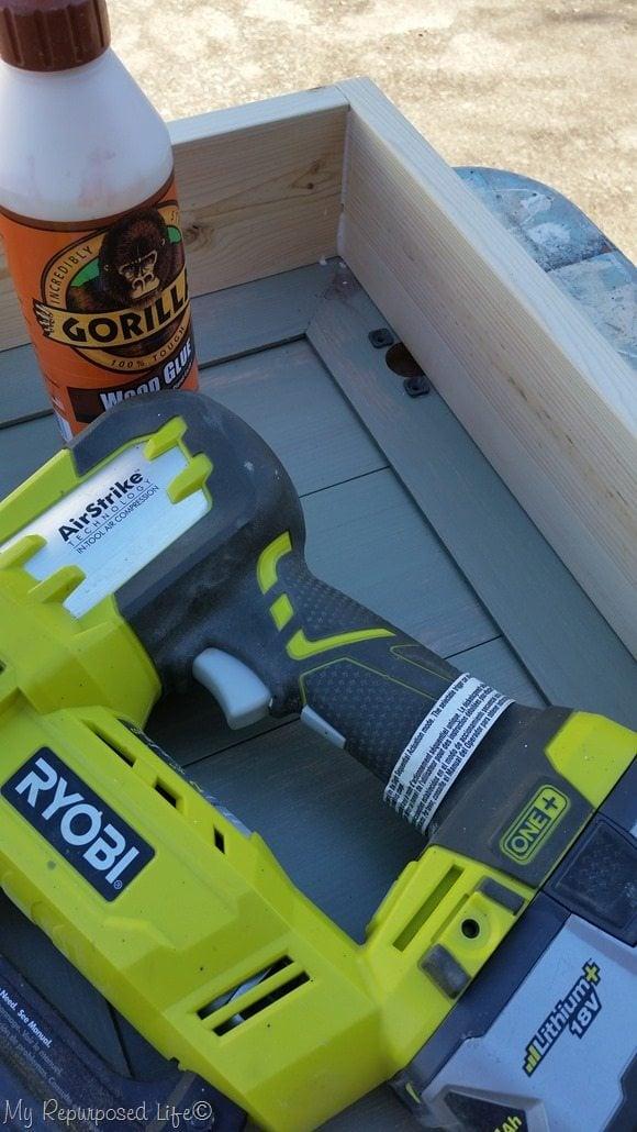wood glue and nail gun