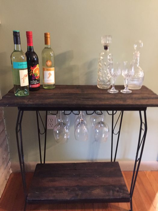 Fish tank stand rustic wine bar my repurposed life for Small fish tank stand