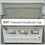 Grateful Thankful Blessed White Distressed Headboard Sign