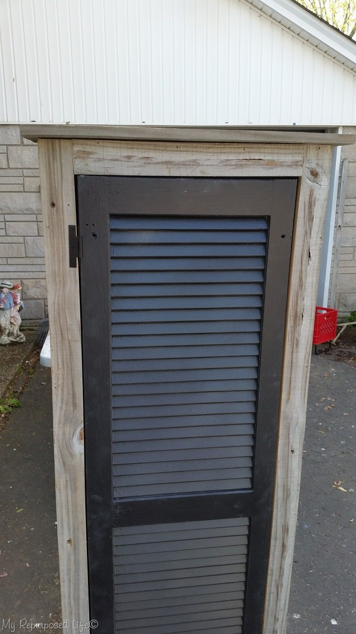 attach hinges to rustic shutter cabinet