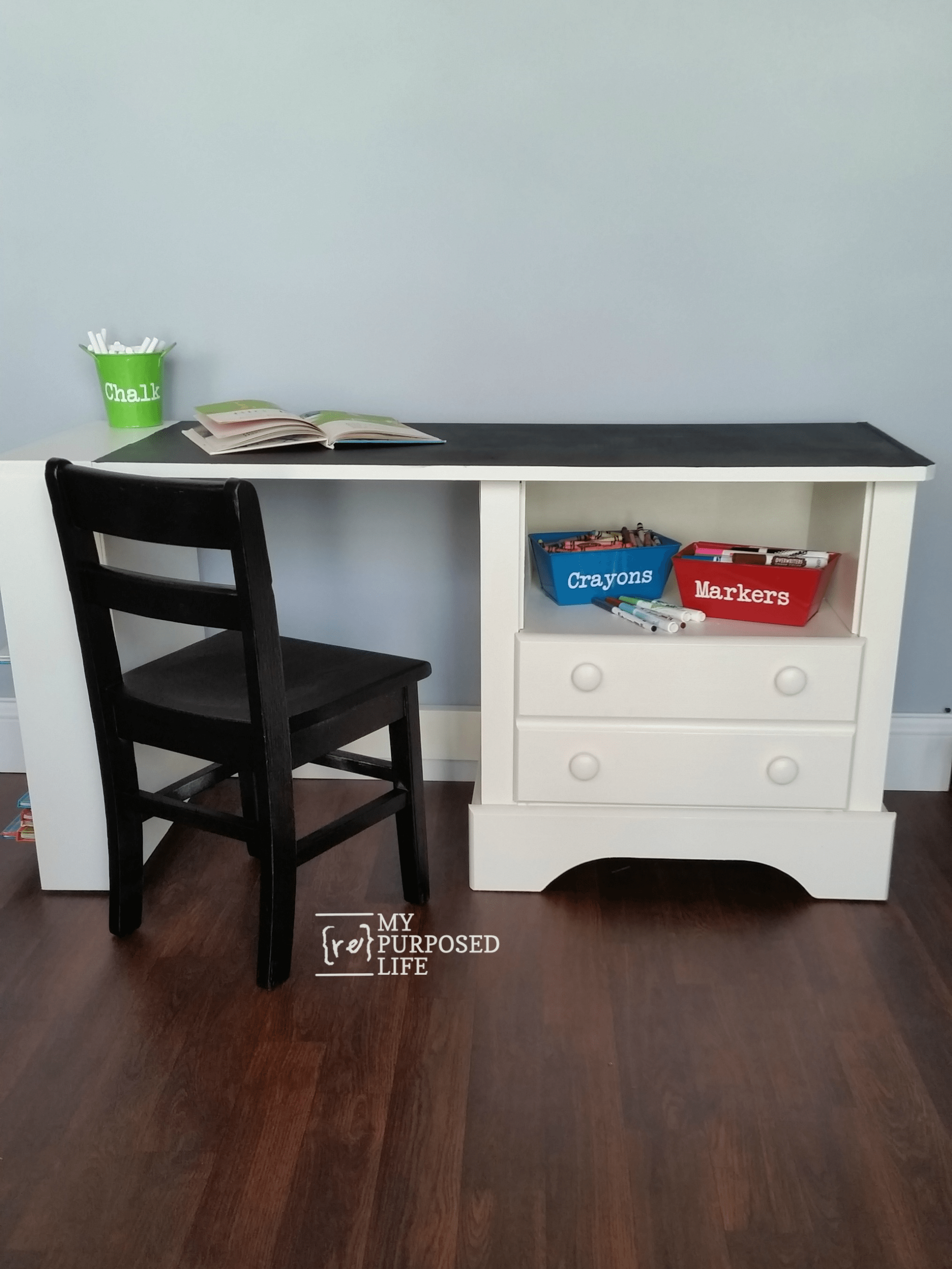 chalkboard childs desk made from a repurposed nightstand