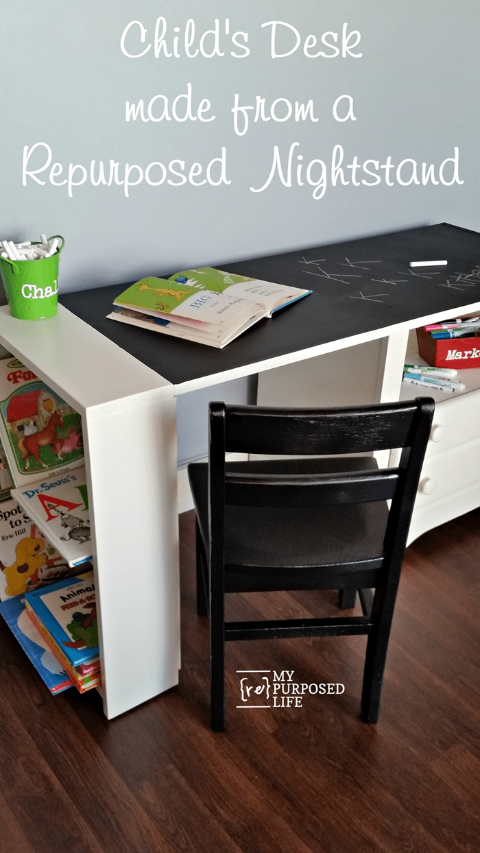 childs desk made from a repurposed nightstand MyRepurposedLife