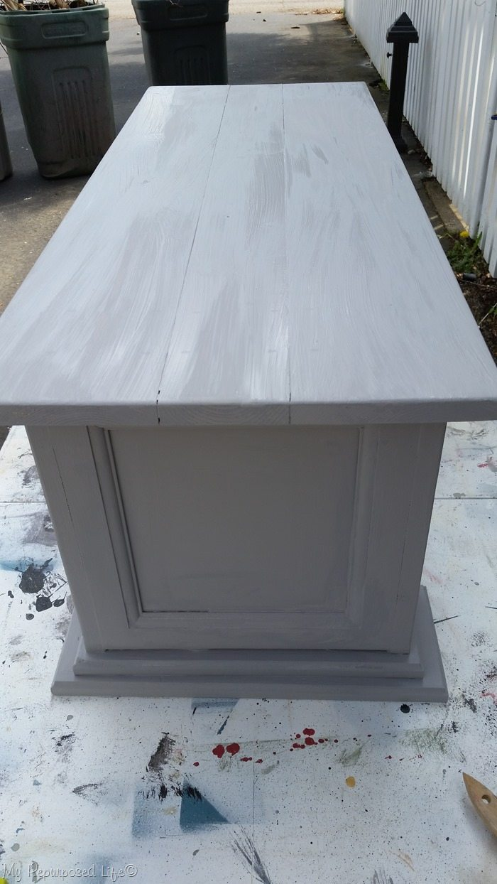 gray chalk paint cabinet door bench