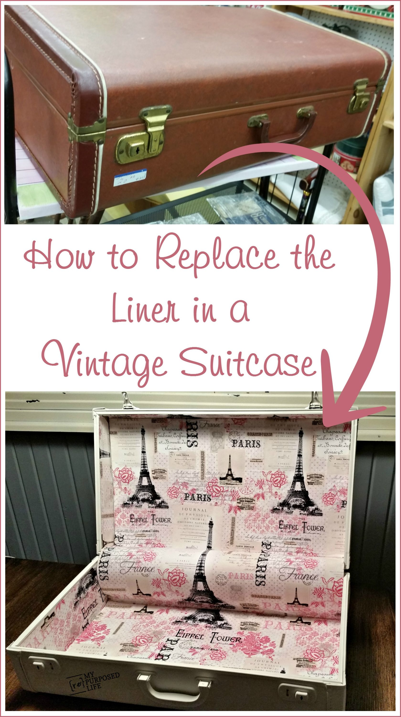 How to Line a Suitcase | Vintage Suitcase Makeover - My Repurposed ...