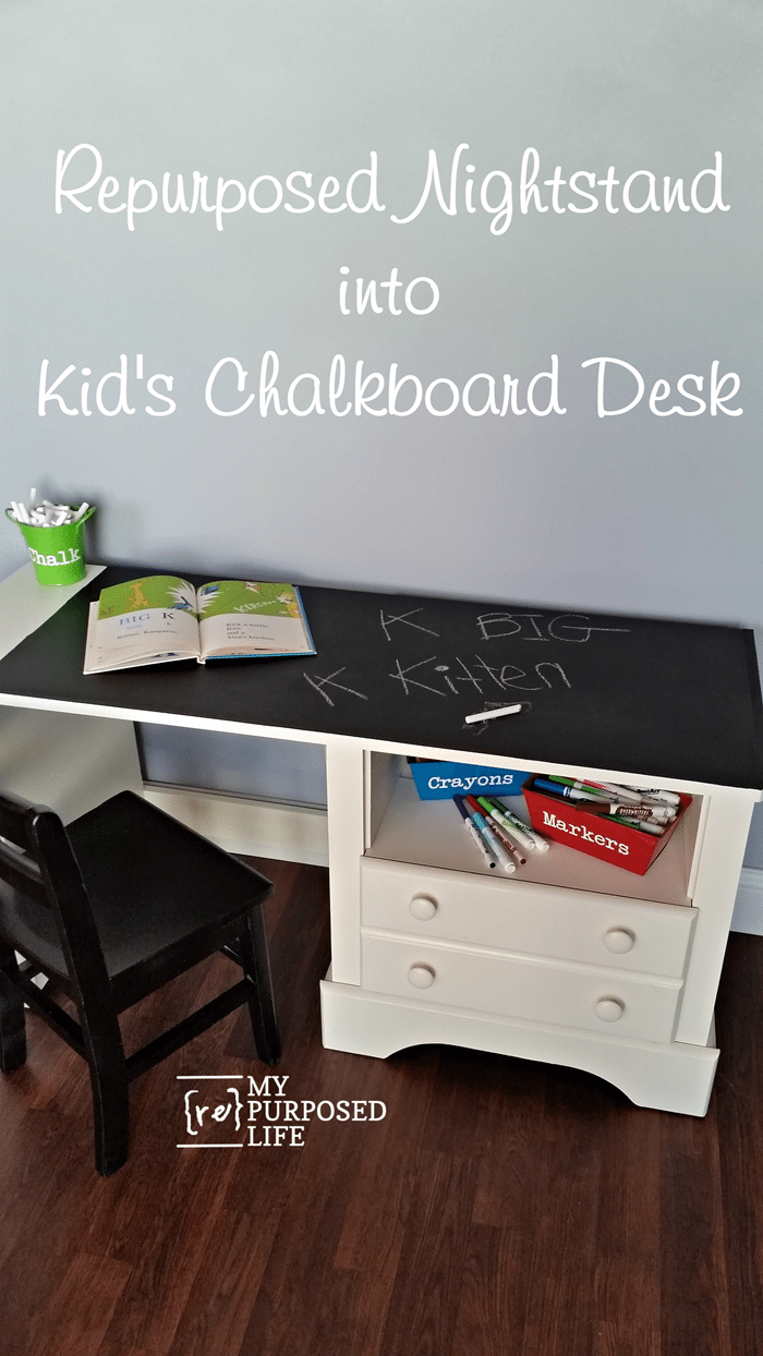 nightstand into kids chalkboard desk MyRepurposedLife