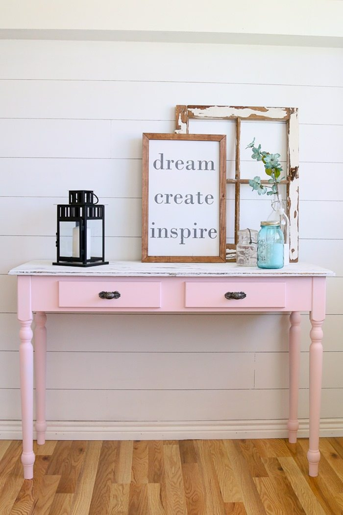 pretty in pink table makeover