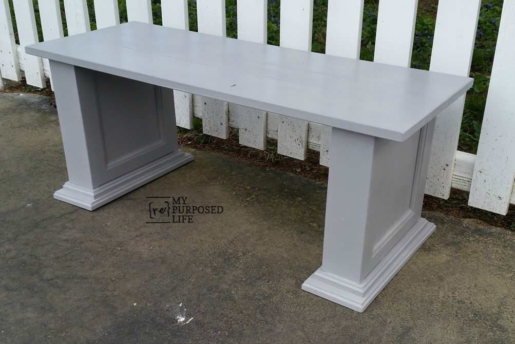 repurposed cabinet door small gray bench MyRepurposedLife.com