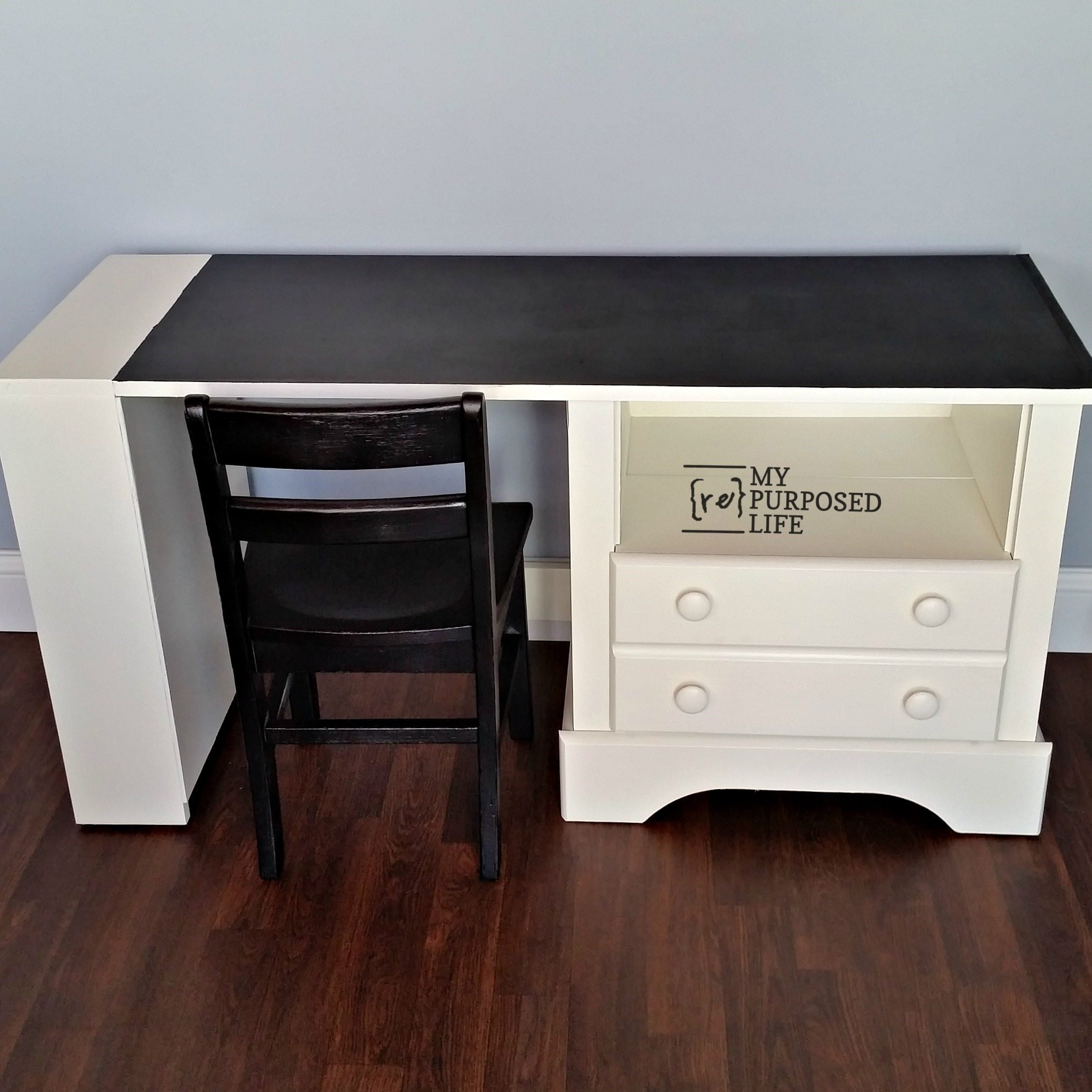 repurposed nightstand kids chalkboard desk MyRepurposedLife.com