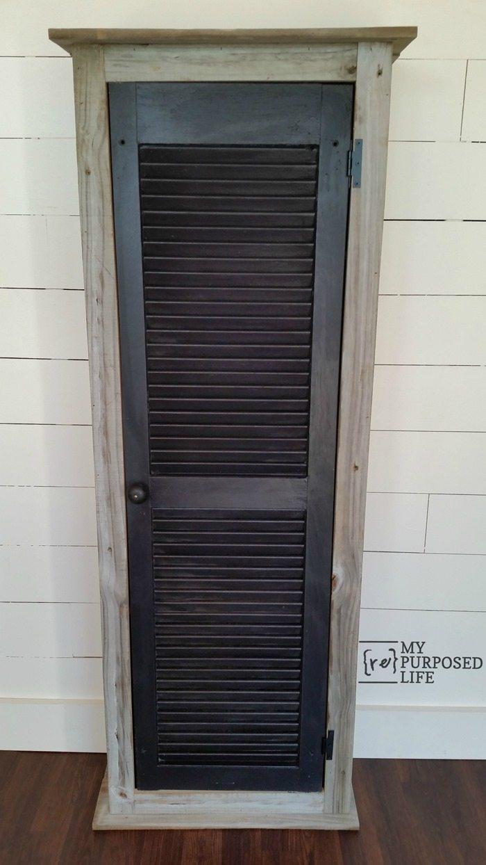 rustic cabinet with shutter door MyRepurposedLife.com