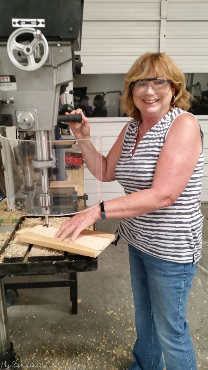 drill press cuts hole in diy cutting board