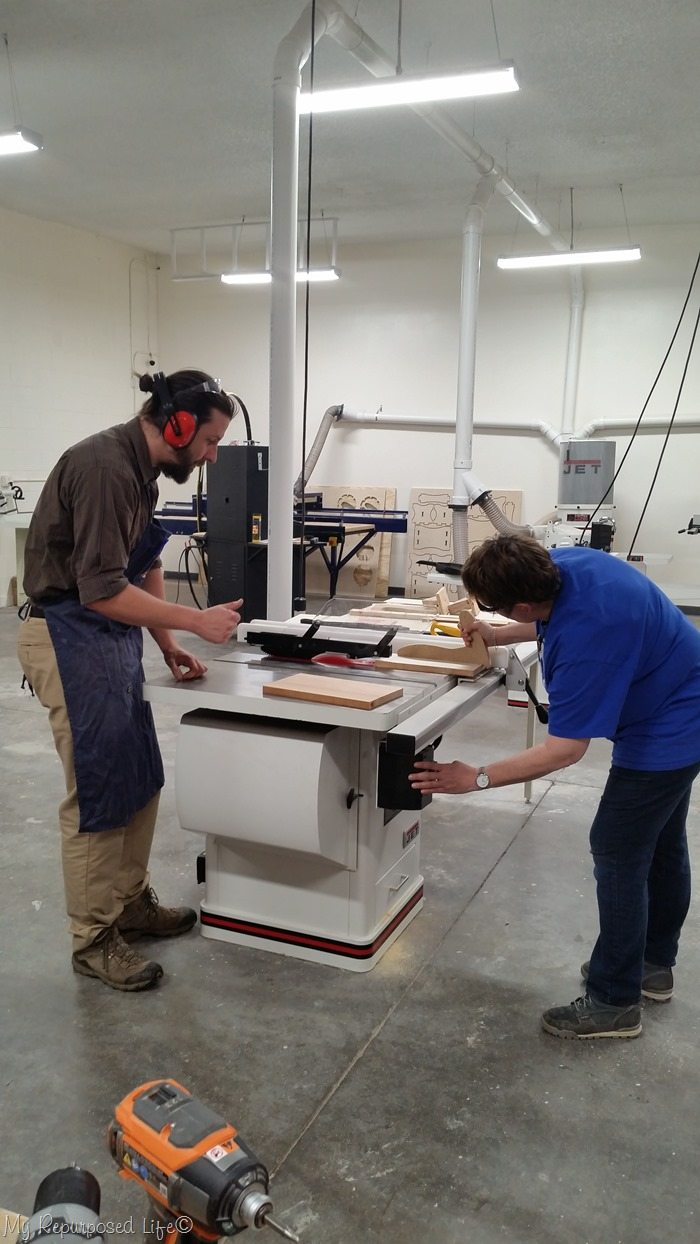 roger and patty on the tablesaw