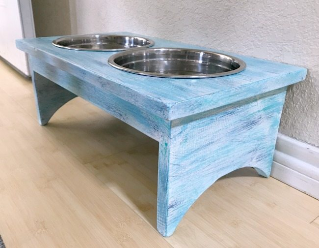 side shot of diy dog bowl holder