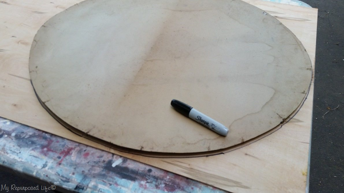 trace oval onto thin plywood