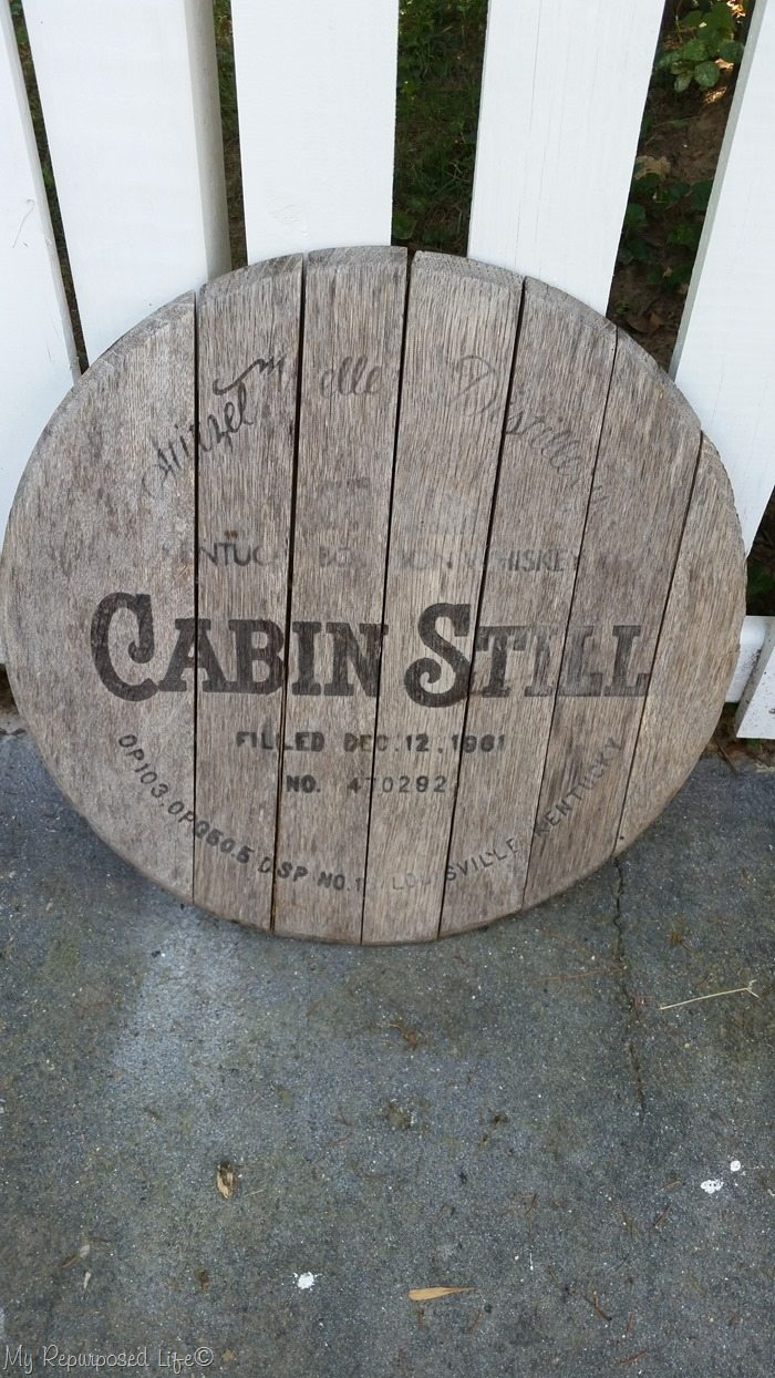 vintage whiskey barrel lid