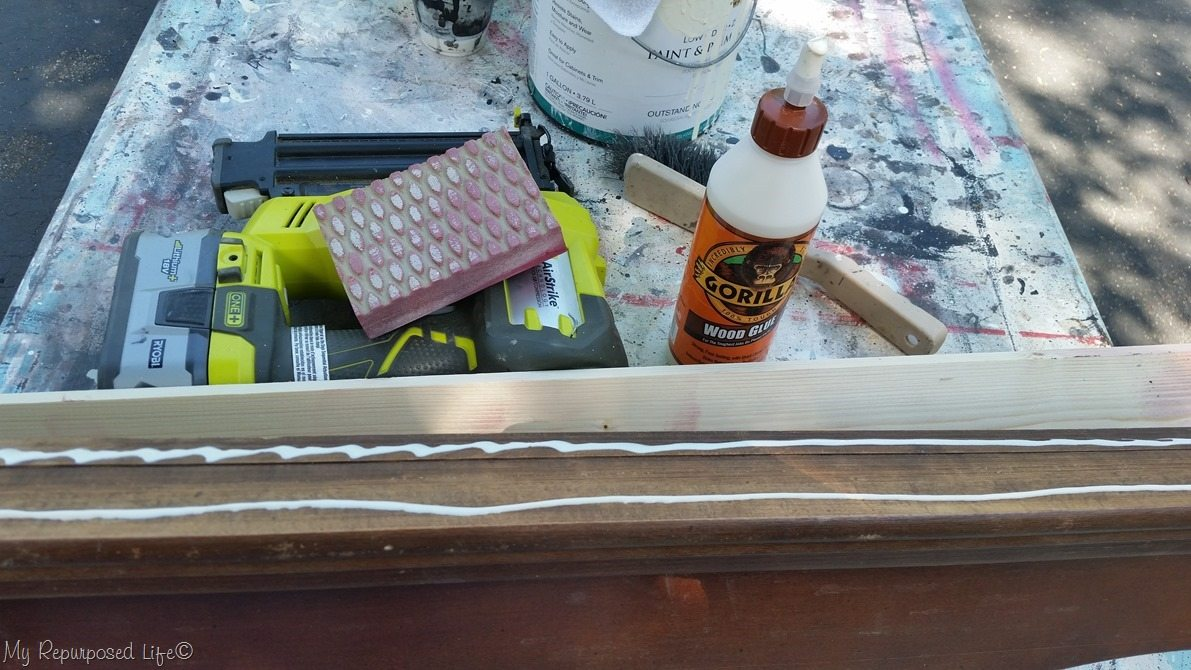 add board to pediment to make shelf