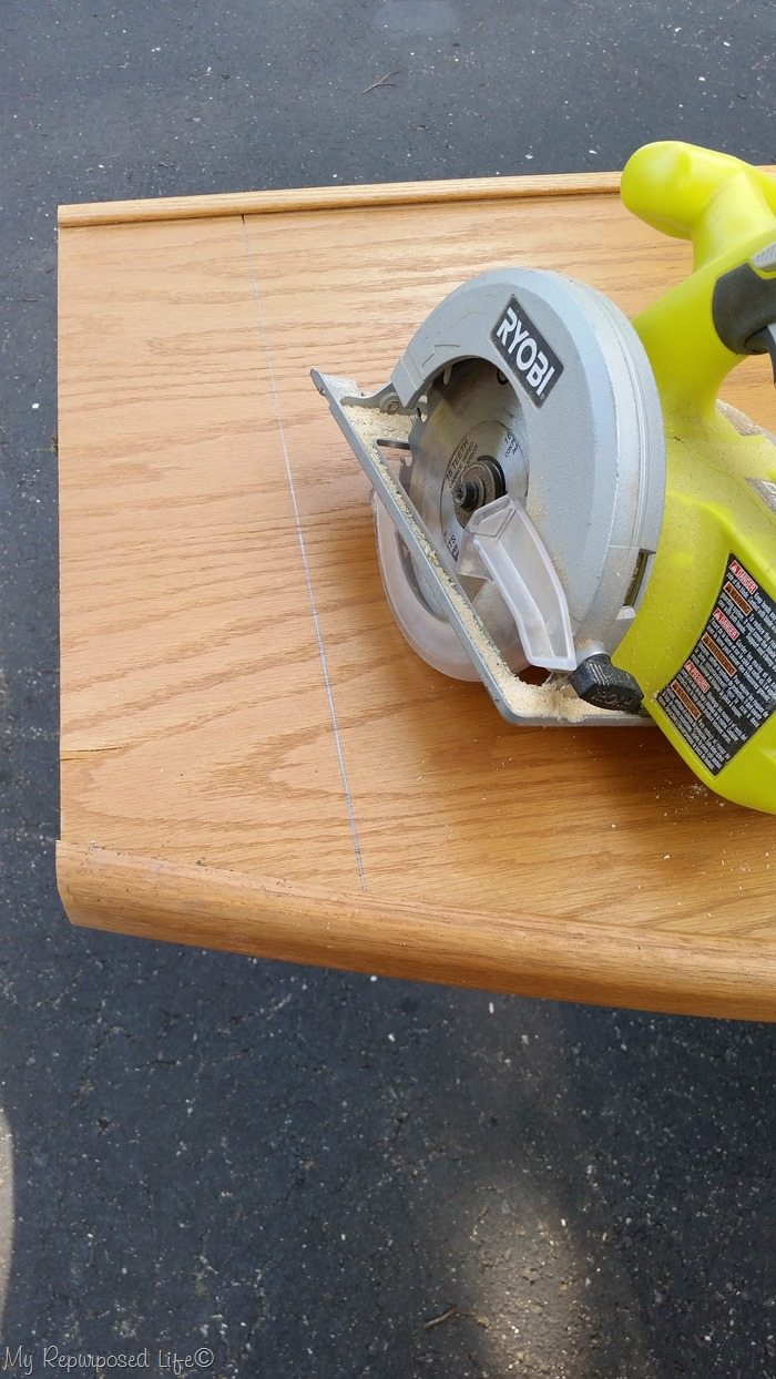 cut broken headboard circular saw