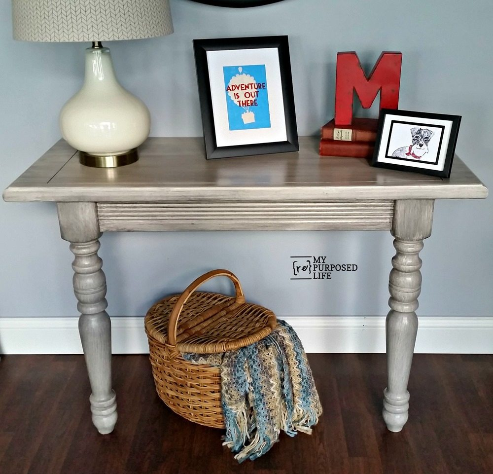 diy console table made from leaf MyRepurposedLife.com