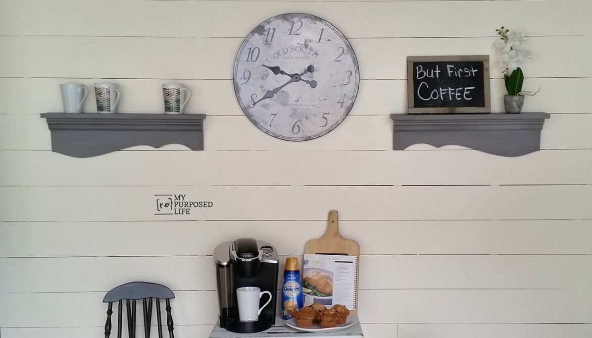 gray shelves for the kitchen MyRepurposedLife.com