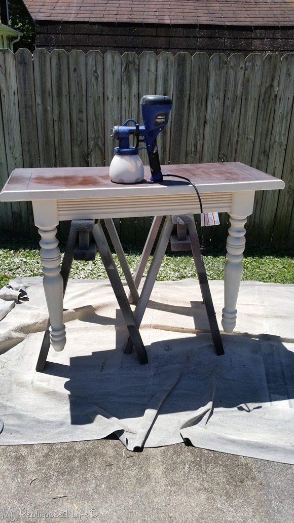 set diy console table upright on sawhorses