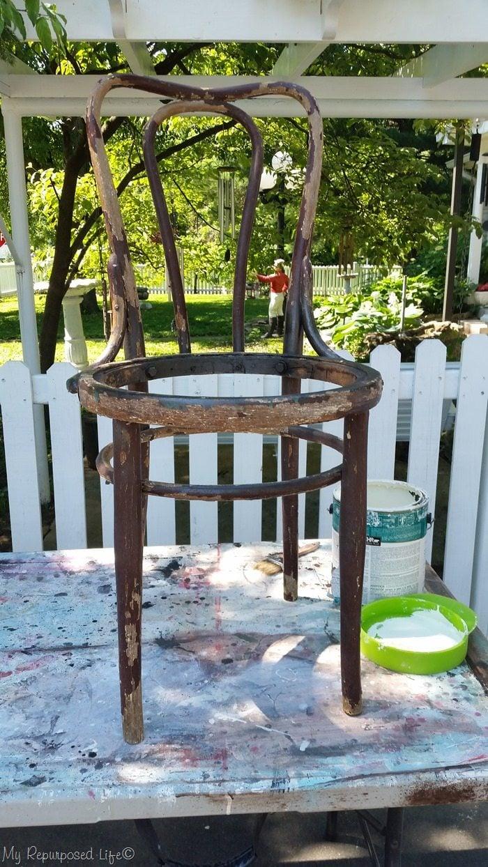 whitewash bottomless chair