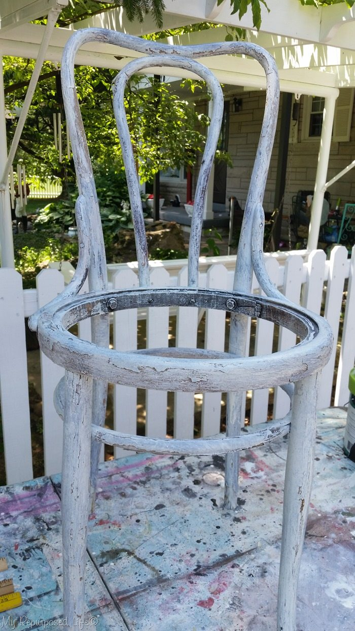 whitewash chair planter