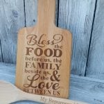 laser etched cutting boards and personalized spoon