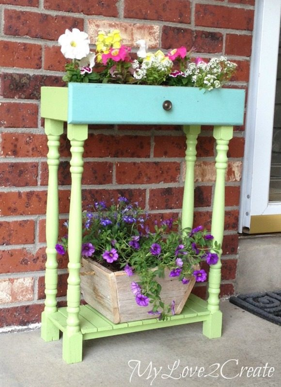 old drawer porch planters
