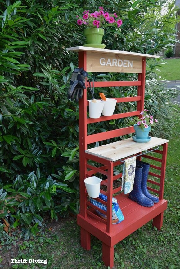 Repurpose-a-toddler-bed-into-DIY-potting-bench-Beyond-Paint-Poppy-Thrift-Diving2292