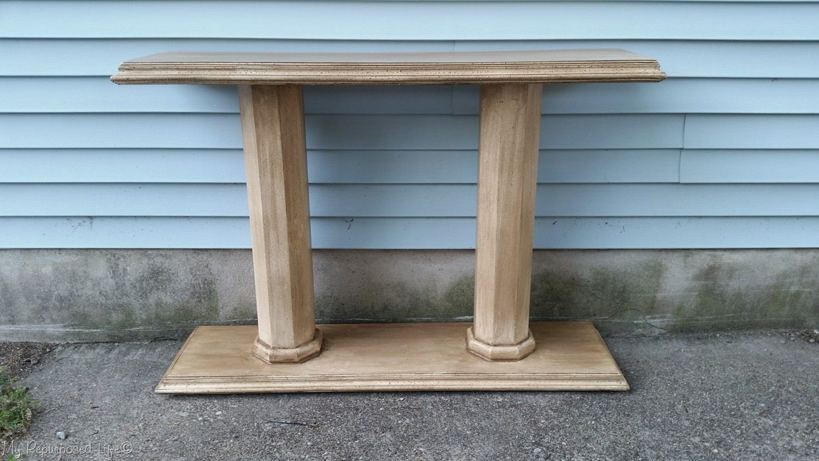 aged glaze double column console table