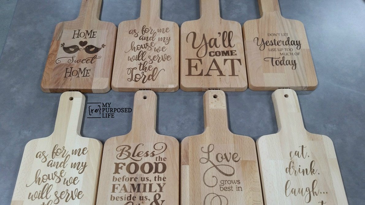 laser etched cutting boards my repurposed life. Black Bedroom Furniture Sets. Home Design Ideas