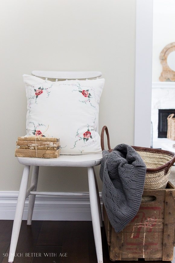 Make a Pillow Out of a Sentimental Table Cloth featured at Talk of the Town at Knick of Time