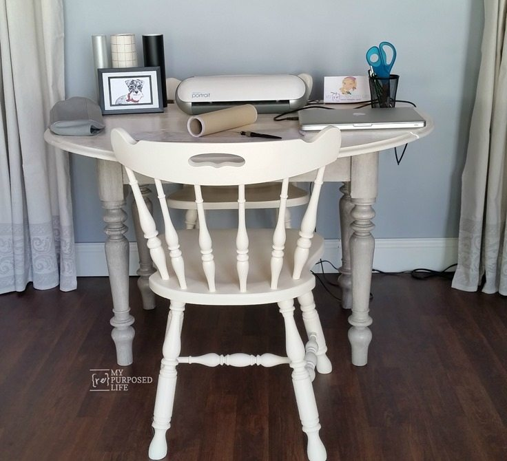 old drop leaf oak table makeover into craft room table MyRepurposedLife.com