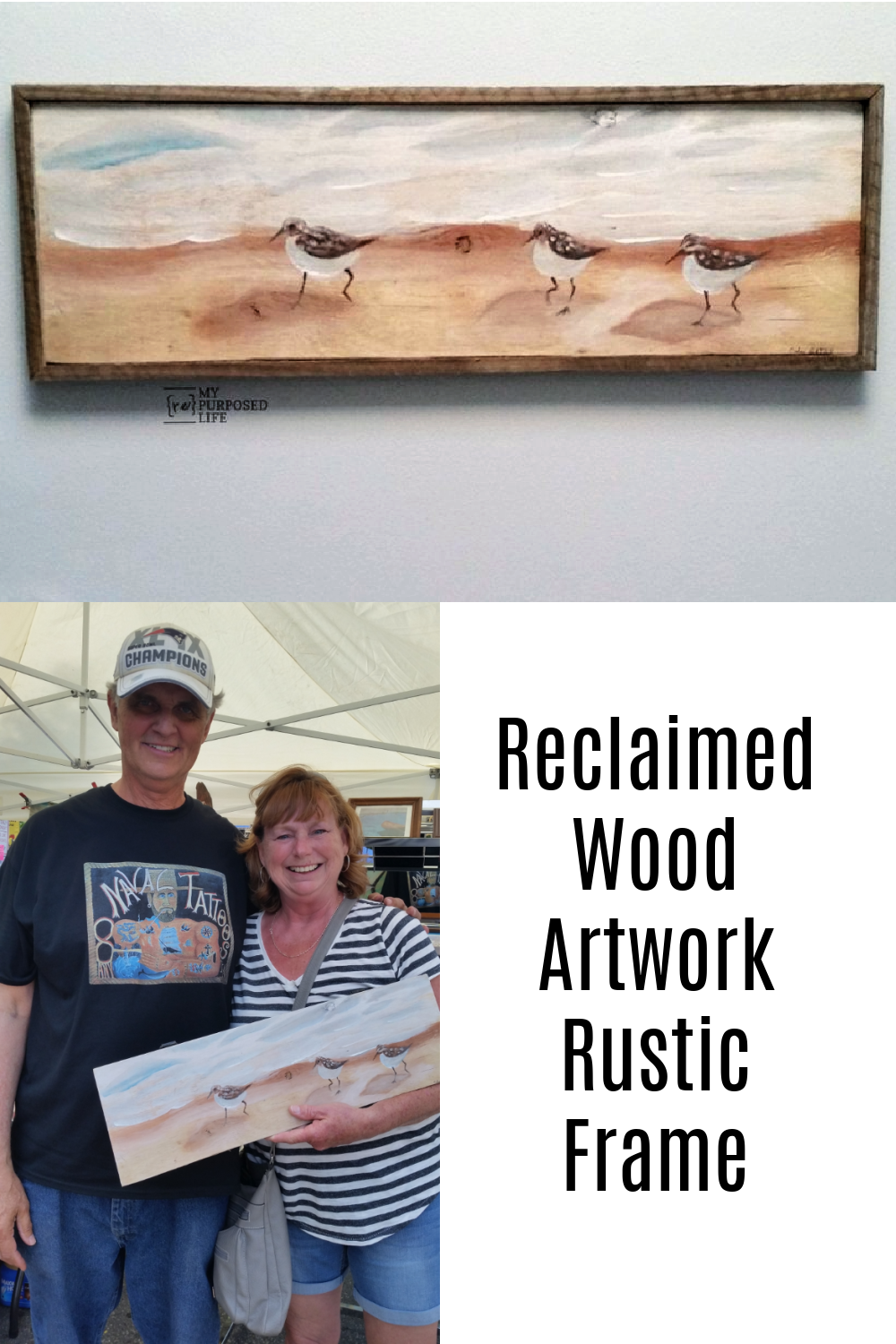 How to make an artwork rust frame for a piece of reclaimed wood. Do you buy artwork while vacationing? It's a great way to bring home a piece of your vacation! I found a beautiful piece painted on reclaimed wood. PERFECT! But I thought it would look a lot better with a frame. #MyRepurposedLife #repurposed #reclaimed #artwork #rustic #frame via @repurposedlife