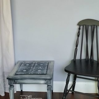 Small Mid Century Modern Stenciled Side Table