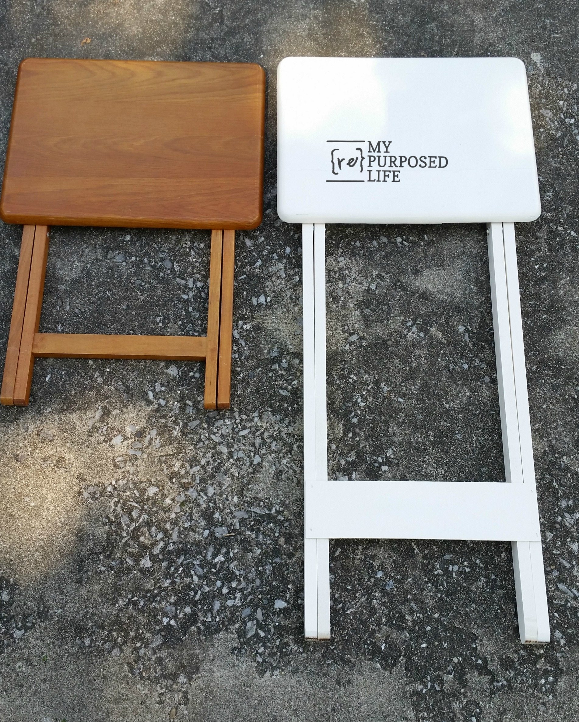 Here Is The Before And After Of The T.v. Tray Table, Original And New  Taller Standing Laptop Table.