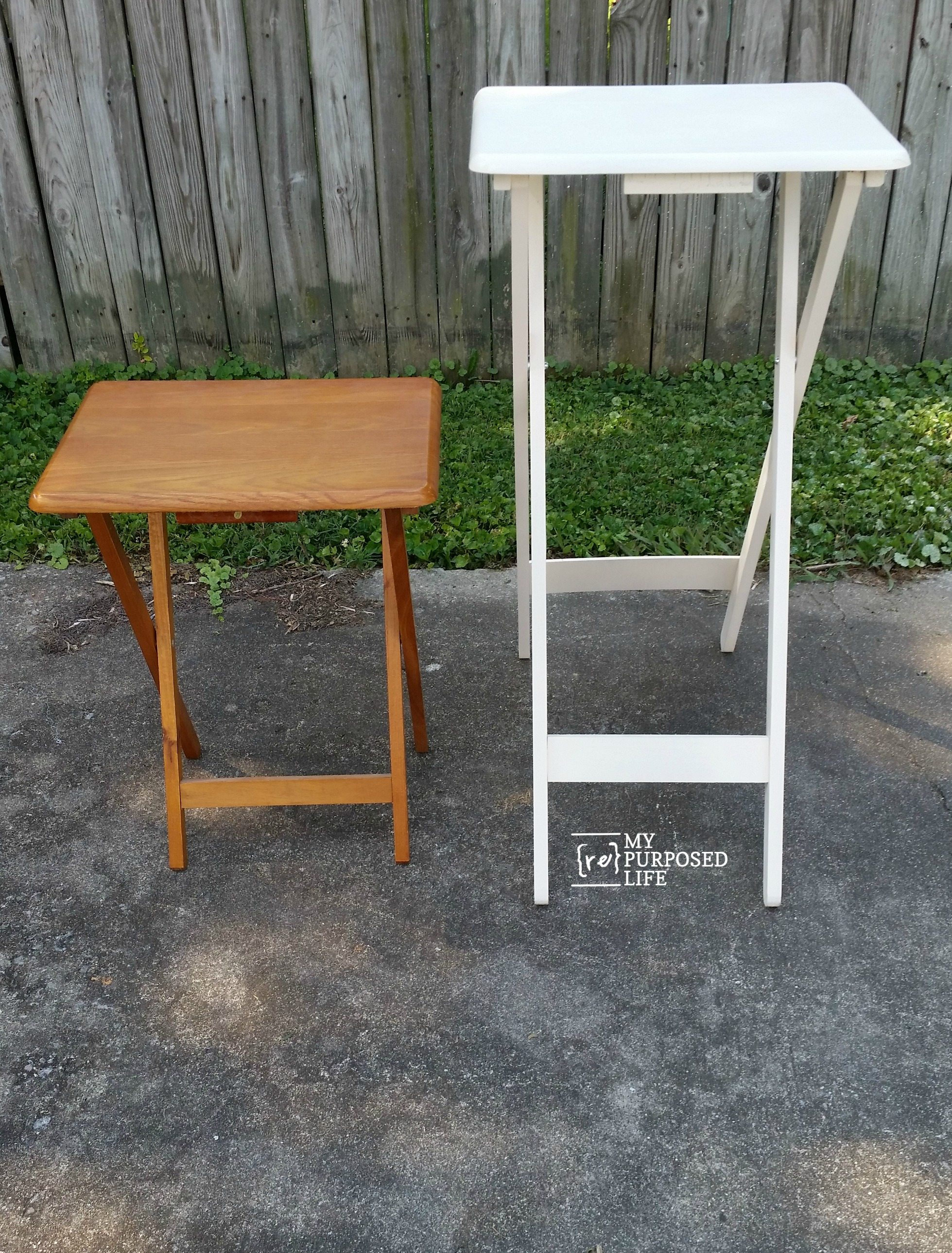 Repurposed chair ideas my repurposed life - This Before And After Gives You A Good Idea Of The Height That Was Added With The New Legs On The Tv Tray Table