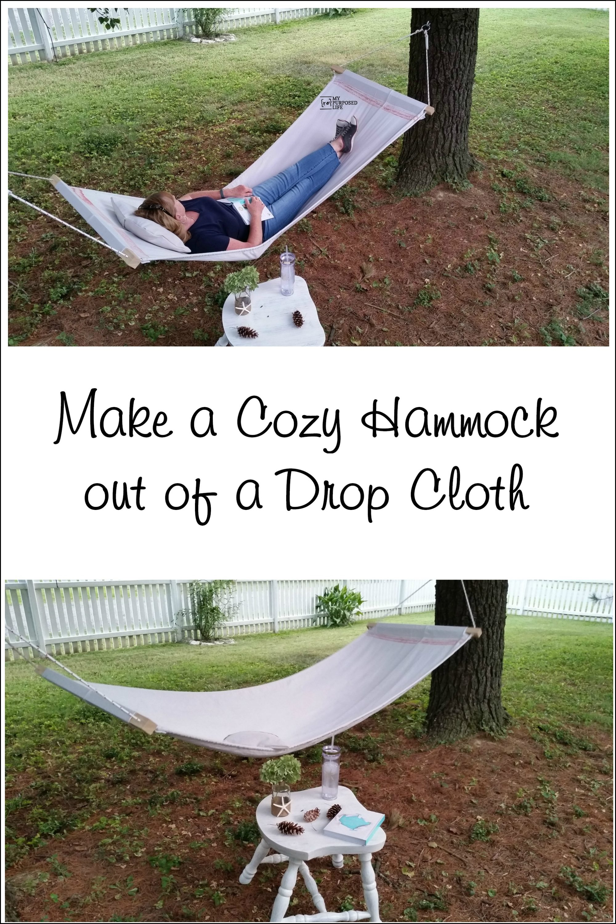 How to make a drop cloth hammock. This single hammock is an easy diy weekend project. If you own a sewing machine, you can make this hammock today. #myrepurposedlife #repurposed #dropcloth #project #diy #hammock via @repurposedlife