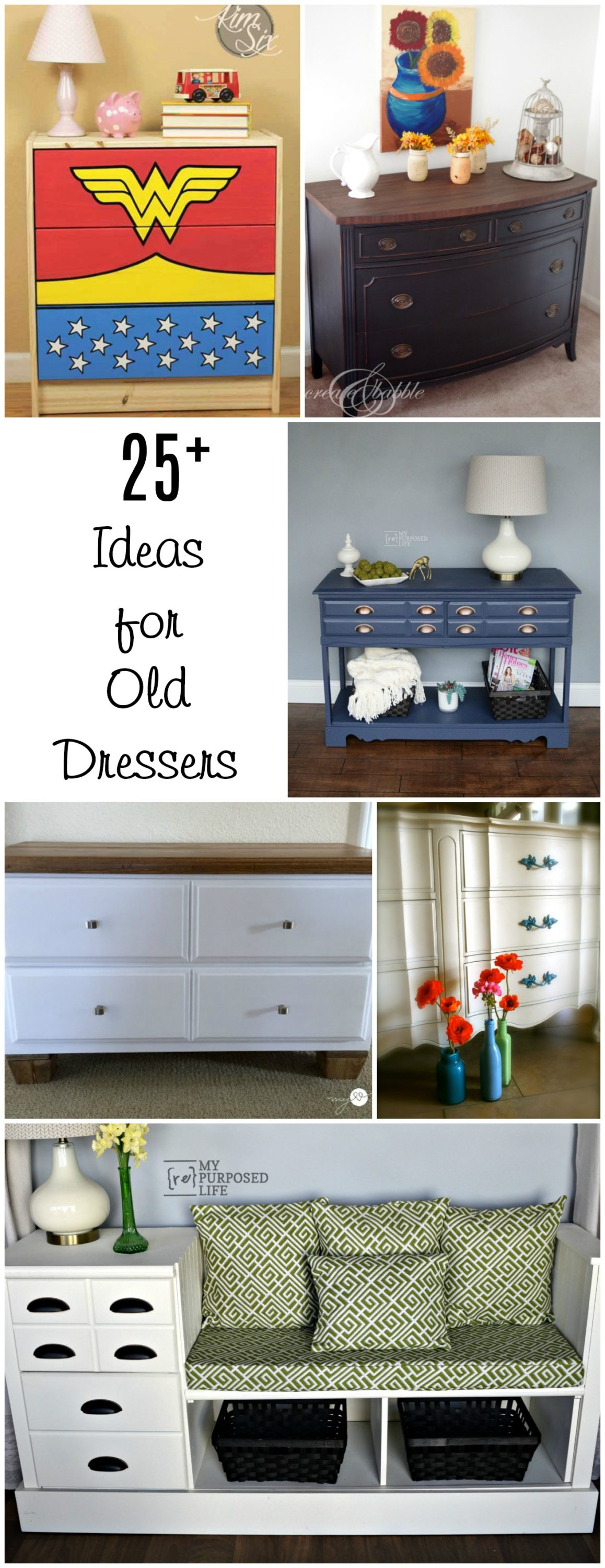 An old dresser is perfect for repurposed furniture projects and makeovers with paint & stencils. Ideas for that old dresser you have waiting in storage. #MyRepurposedLife #Repurposed #furniture #dresser #Project #ideas via @repurposedlife