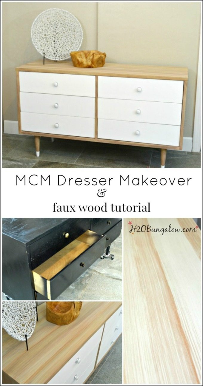 MCM-Faux-wood-painting-tutorial-dresser-makeover-H2OBungalow