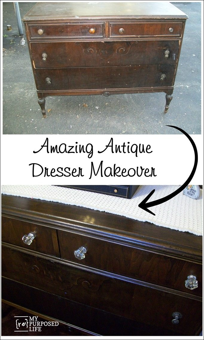 amazing antique dresser makeover MyRepurposedLife.com