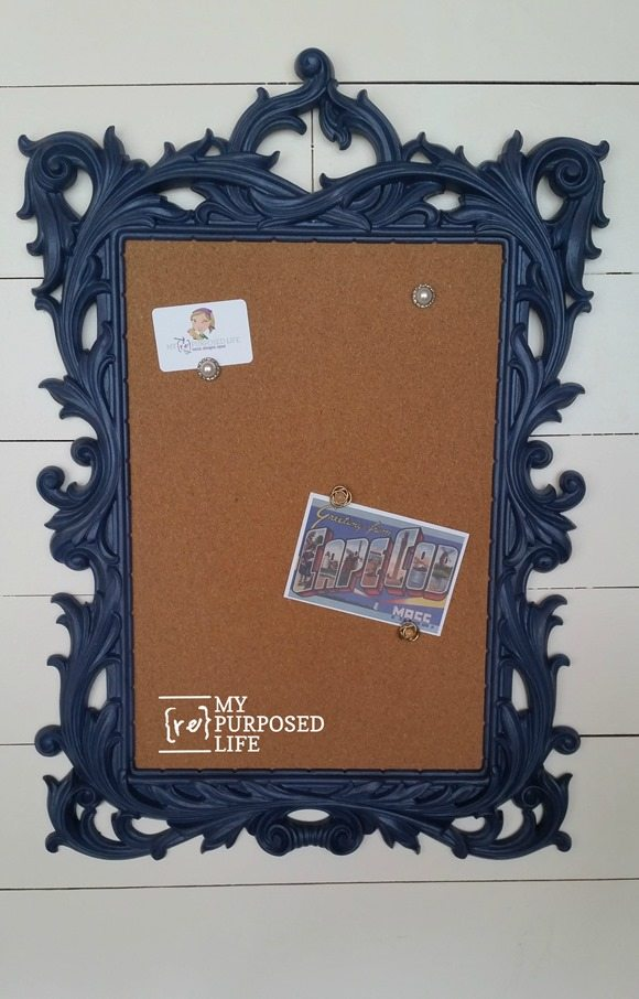 diy fancy blue frame corkboard MyRepurposedLife.com