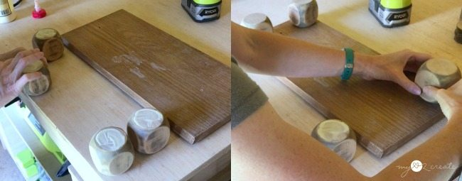 gluing spindle feet for bottom of drawer tray